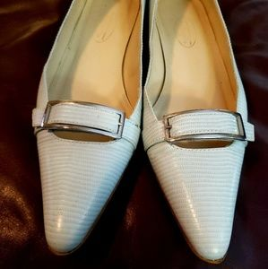 Talbots All Leather Bone Color Flats